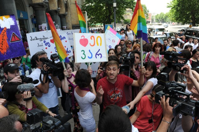 Gay rights activists rally in the Georgi